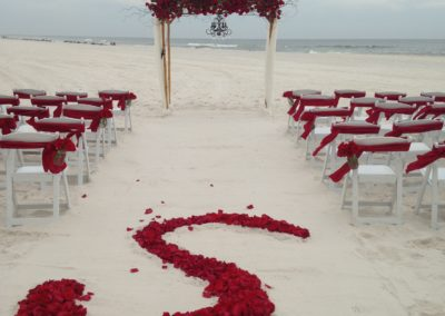 "Red ""S"" initial designed out of fresh red rose petals"