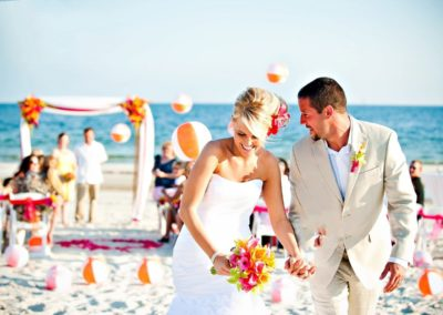 Beach wedding ceremony setup