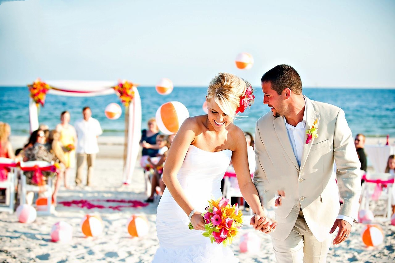 Dreamy beach wedding ceremony setup