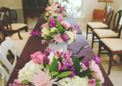 mixed purple vase arrangements