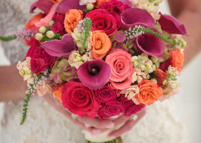 Beautiful bright colored wedding bouquet