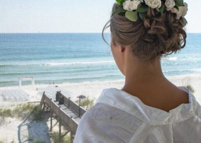 Bride awaiting for her dreamy beach wedding ceremony
