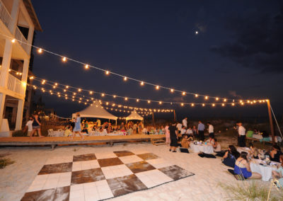 Dance floor on the beach wedding reception